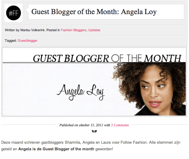 Special guest blogger op Follow Fashion