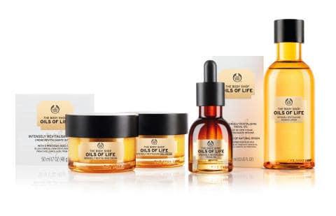 nieuwe natuurlijke skin care: The body shop oils of life